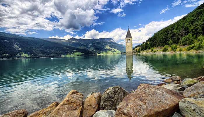 Vakantie bij de Reschensee