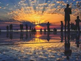 Zonsondergang tijdens de vakantie in Zadar
